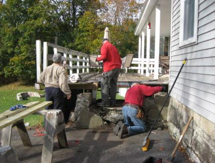 Replacing a set of stairs to the main entrance to a house on Brooklyn Street.